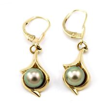14k Yellow Gold Pearl Hanging Earrings (estate cultured dyed pearls, 3.9g) 3860