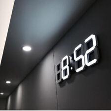NOUVEAU Horloge murale 3D LED Réveil numérique Snooze 12/24 heures USB Blanc