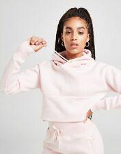 Gym King Womens Hooded Crop Pink Marl Hoodie Designer Sweatshirt Sweater Hoody
