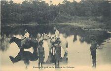 New Guinea Oceania Passage a gue de la riviere du Kubuna misionary & native type
