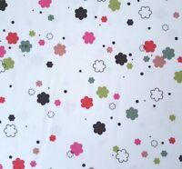 Wool Ewe BTY Ink & Arrow Floral Flowers Pink Red Green Black Brown on White