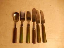 Vintage Marbled Green Bakelite Flatware STA-BRITE Stainless Steel Knife, Fork 6p