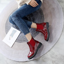 Womens Chelsea Boots Patent Leather Brogues Wingtip Round Toe Chunky Heels Shoes