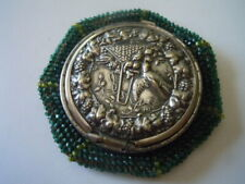 Vintage green beadedTam O'Shanter crochet coin purse with decorative lid