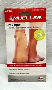 PFTape plantar fasciitis foot heel and arch pain relief (Mueller) 3-pack, New