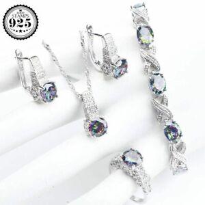 Ring Schmuckset 925 Silber Rainbow Zirkon Hochzeit Ohrringe Armband Halskette