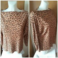Zara Womens Crinkled Leopard Cheetah Animal Print Top Size 14