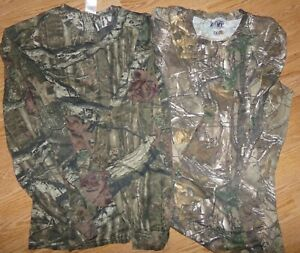 LOT 2 REALTREE MOSSY OAK UNISEX 3XL HUNTING CAMOUFLAGE TEES T-SHIRT LONG SLEEVES