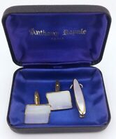 Vintage Mother Of Pearl Cufflinks Tie Pin Boxed Anthony Royale Paris Gold Tone