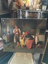 ANTIQUE ITALIAN OIL PAINTING MAN WOMAN CHILDREN CHICKENS SIGNED 1 Of 2 Listed