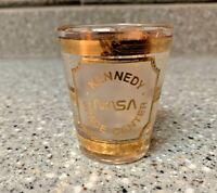 Vtg Souvenir CULVER 22K GOLD SHOT GLASS-KENNEDY SPACE CENTER-NASA-SPACE SHUTTLE