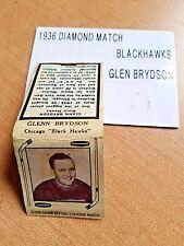 1936 DIAMOND FULL MATCHBOOK  CHICAGO BLACK HAWKS GLENN BRYDSON