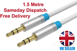 1.5M White Auxiliary Cable Gold Plated male 3.5mm Jack Vention In car Audio lEAD