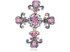 Alloy Flowery Cross Pin Brooch Chic Repro Bright Pink Pastel Holy