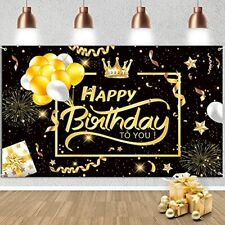 Happy Birthday Backdrop Banner, Black and Gold Photo Booth party Decoration