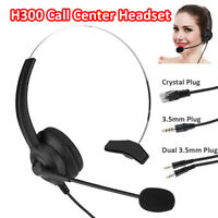Call Center Headset Telephone Phone Headphone Mic Noise Cancelling 2.5mm 3.5mm
