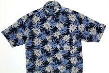 Cambridge Classic shirts Mens sz M Blue leaf Print Short Sleeves Button Casual