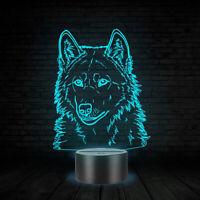 3D Animal Wolfs Head Table Lamp LED USB Creative Baby Sleep Night Light Bedside
