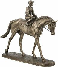 Going To The Post Resin Bronze Horse Riding Sculpture Gift