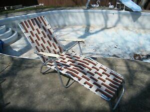 Vintage Aluminum Webbed Folding Lawn Chair Chaise Lounge Brown / White/ Orange