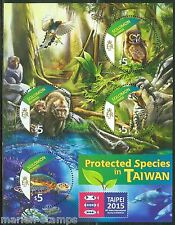 SOLOMON ISLANDS 2015 PROTECTED SPECIES IN TAIWAN FAUNA SHEET OF FOUR STAMPS
