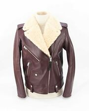 *NEW* w/tags $1795 Coach Calf Leather Moto Jacket with Shearling Collar size S