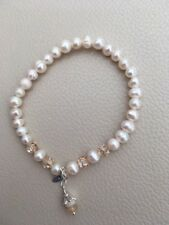 Oct Birthstone Cultured Pearl Sterling Silver Bracelet Real Opal Charm