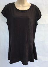 New ASOS Curve Plus Size Jersey Peplum Hem Black Top Short Sleeve UK 20 DE46