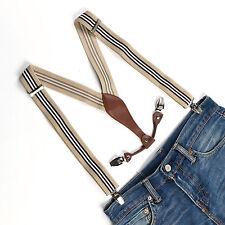 New Adjustable Mens Beige striped Suspenders 3.5 CM Width Clip-on Braces BD610