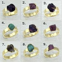 Natural Raw Ruby Amethyst Emerald Herkimer 24k Gold Electroplated Ring Jewelry