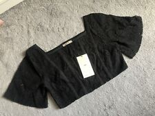 ZARA WOMENS BNWT CROPPED TOP BLOUSE BLACK FLORAL LACE WOMENS SIZE UK MEDIUM