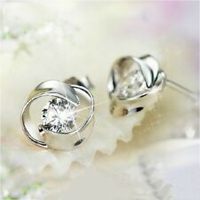 Womens Silver Earrings Round Crystal Studs Fashion Flow Jewellery Gift Small UK