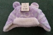 Lilac White Sparkle Hat 0-3 Months.  Warm Fleece Lined Hat.