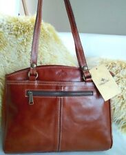 Patricia Nash Poppy Tote Cognac Leather Handbag Heritage Veg Tan Satchel NWT