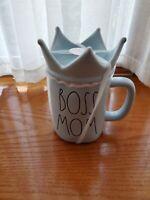 "Rae Dunn Rae Dunn "" Boss Mom"" Baby Blue Ceramic Mug with Crown Topper."