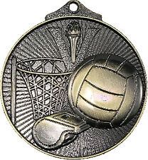 Netball 3d Embossed 50mm Diameter Medal Inc Neck Ribbon / Engraving