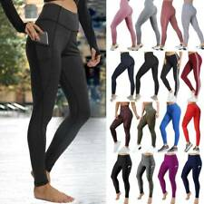 Women High Waist Yoga Pants Pockets PUSH UP Leggings Sports Stretch Gym Trousers