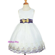 Ivory Purple Embroidery Occasion Dress Wedding Flower Girl Pageant Sz 3-10 FG298