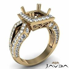Princess Cut Semi Mount Halo Set Diamond Engagement 1.38Ct Ring 14k Yellow Gold