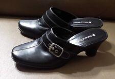 Naturalizer Black Leather Open Back Clog  Buckle Women's Shoes  Med Heel 6,5M