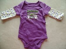 NEW baby girls HALLOWEEN OUTFIT shirt GRANDMA UNDER MY SPELL twins 0-3 MONTHS
