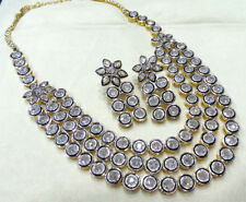 REAL & NATURAL UNCUT POLKI DIAMOND 8.82ct SILVER ANNIVERSARY PARTY NECKLACE SET