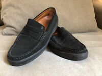 Tods Men's Suede Penny Loafer Driving Slip On Shoes Black Made in Italy Sz 8.5
