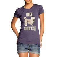 Twisted Envy Women's Holy Shih Tzu Funny Cotton T-Shirt