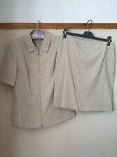 Beige Ladies Skirt Suit Size 14