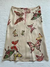 Vintage Gerard Darel Silk Butterfly Skirt Multicoloured Sequin Embroidered 40
