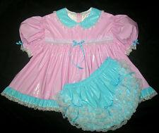 ADULT SISSY BABY PINK PVC DRESS 7 PCS SET (MITTS, BONNET & BOOTIES )