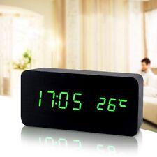 LED Digital Wecker Tischuhr Uhr Beleuchtet Funk Thermometer Holz Alarm Snooze DE