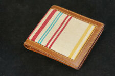 Authentic BALLY Bi-Fold Wallet Stripe Canvas Leather Free Shipping 106f03