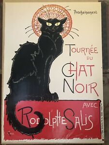 """Vintage 1973 Reproduction Lithograph Poster """"Chat Noir"""" Theophile Steinlen"""